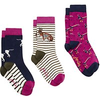 Joules Brill Bamboo Animal Christmas Ankle Socks, Pack of 3, Multi