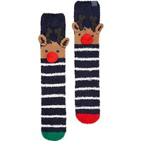 Joules Fab Fluffy Reindeer Christmas Tree Ankle Socks, Navy/Multi