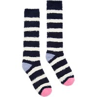 Joules Fab Fluffy Stripe Ankle Socks, French Navy/Multi