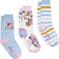 Joules Brill Bamboo Pastel Floral Print Ankle Socks, Pack of 3, Multi