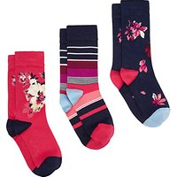Joules Brill Bamboo Floral Ankle Socks, Pack of 3, Multi
