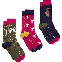 Joules Brill Bamboo Dog Print Ankle Socks, Pack of 3, Multi