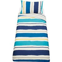 little home at John Lewis Painterly Striped Reversible Duvet Cover and Pillowcase Set, Single, Blue/Multi