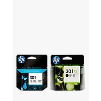 HP 301XL Ink Cartridge, Black & 301 Ink Cartridge, Tri-Colour Multipack, Pack Of 2