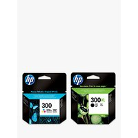 HP 300XL Ink Cartridge, Black & 300 Ink Cartridge, Tri-Colour Multipack, Pack Of 2