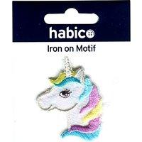 Habico Iron On Rainbow Unicorn Head, White/Multi