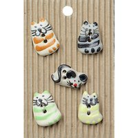 Habico Sitting Cats Buttons, 15mm, Pack of 5, Multi