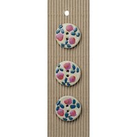 Habico Round Floral Buttons, 32mm, Pack of 3, Pink
