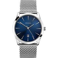 Sekonda 1065.27 Mens Date Bracelet Strap Watch, Silver/Blue