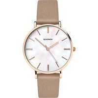 Sekonda 2634.27 Women's Faux Leather Strap Watch, Dark Mink/White