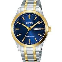 Lorus Mens Day Date Two Tone Bracelet Strap Watch, Multi/Blue RXN66DX9