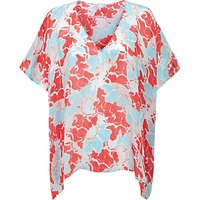 Pure Collection Silk Summer Poncho Top, Floral Print