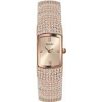 Sekonda 2374.37 Women's Seksy Swarovski Crystal Oblong Bracelet Strap Watch, Rose Gold