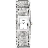 Sekonda 2582.37 Women's Seksy Swarovski Crystal Bracelet Strap Watch, Silver/White