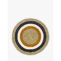 Gone Rural Woven Grass Circles Placemat, Dia.28cm, Orange/Blue