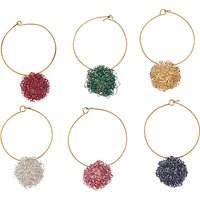 John Lewis & Partners Wire Ball Wine Charms, Assorted, Pack of 6
