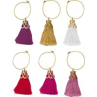 John Lewis & Partners Tassel Wine Charms, Assorted, Set of 6