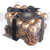 John Lewis & Partners Ruby Box Of Pinecones & Berries, Gold