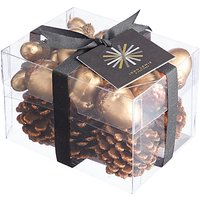 John Lewis & Partners Amber Box Of Pinecones and Acorns, Brown