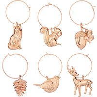 John Lewis & Partners Wildlife Wine Charms, Copper, Set of 6