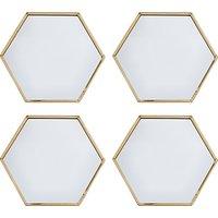 John Lewis & Partners Hexagonal Mirror Coasters, Metallic Brass, Set of 4