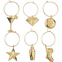John Lewis & Partners Christmas Party Wine Charms, Gold, Set of 6
