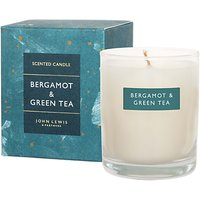 John Lewis & Partners Bergamot & Green Tea Scented Candle, 180g