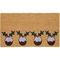 John Lewis & Partners Christmas Pudding Glitter Door Mat, Multi