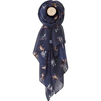 Joules Dogs In Leaves Wensley Scarf, Black/Multi at John Lewis & Partners Department Store