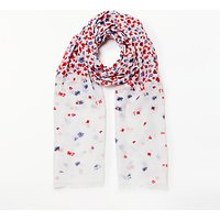 Collection WEEKEND by John Lewis Floral Waterfall Print Scarf, Red/Multi