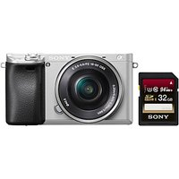 Sony A6300 Compact System Camera With 16-50mm Power Zoom Lens, 4K Ultra HD, 24.2MP, 4D Focus, Wi-Fi, NFC, OLED EVF, 3 Tilting Screen with 32GB Memory Card, Silver