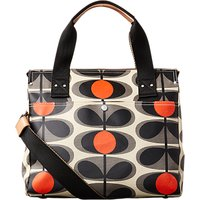 Orla Kiely Matt Laminated Flower Stem Print Messenger Bag, Granite