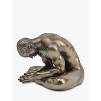 Libra Meditating Man Sculpture, Antique Bronze