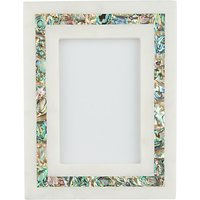 John Lewis & Partners Marble & Mother of Pearl Photo Frame, 6 x 4 (10 x 15 cm), White