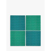 John Lewis & Partners Collector's House Embroidered Napkins, Green/Blue, Set of 4