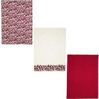 John Lewis & Partners Ruby Berries Tea Towels, Pack of 3, Assorted