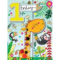 Rachel Ellen Giraffe 1st Birthday Card