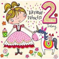 Rachel Ellen Princess 2nd Birthday Card