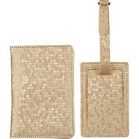 John Lewis & Partners Honeycomb Passport Cover & Luggage Tag, Gold