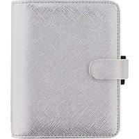 Filofax Saffiano Metallic Pocket Organiser, Silver