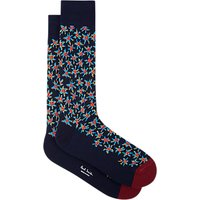 Paul Smith 'Torn Floral' Motif Socks, One Size, Navy/Multi