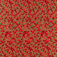 Oddies Textiles Large Holly Print Fabric, Red