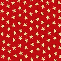 John Louden Large Gold Star Print Fabric, Red