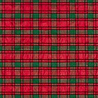 John Louden Metallic Tartan Print Fabric, Red