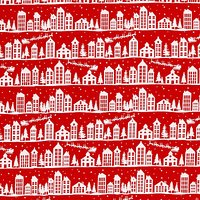 John Louden White Nordic Houses Print Fabric, Red