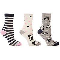 John Lewis & Partners Panda Ankle Socks, Pack of 3, Pink/White/Black