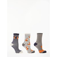 John Lewis & Partners Fox And Stripe Ankle Socks, Pack of 3, Navy/Orange/White