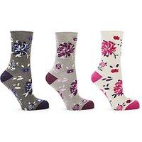 John Lewis & Partners Floral Print Ankle Socks, Pack of 3, Multi