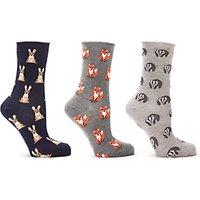 John Lewis & Partners Woodland Animal Print Ankle Socks, Pack of 3, Multi