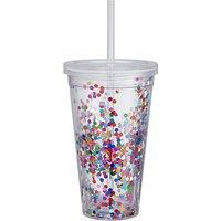 John Lewis & Partners Rainbow Glitter Acrylic Tumbler, 600ml, Multi